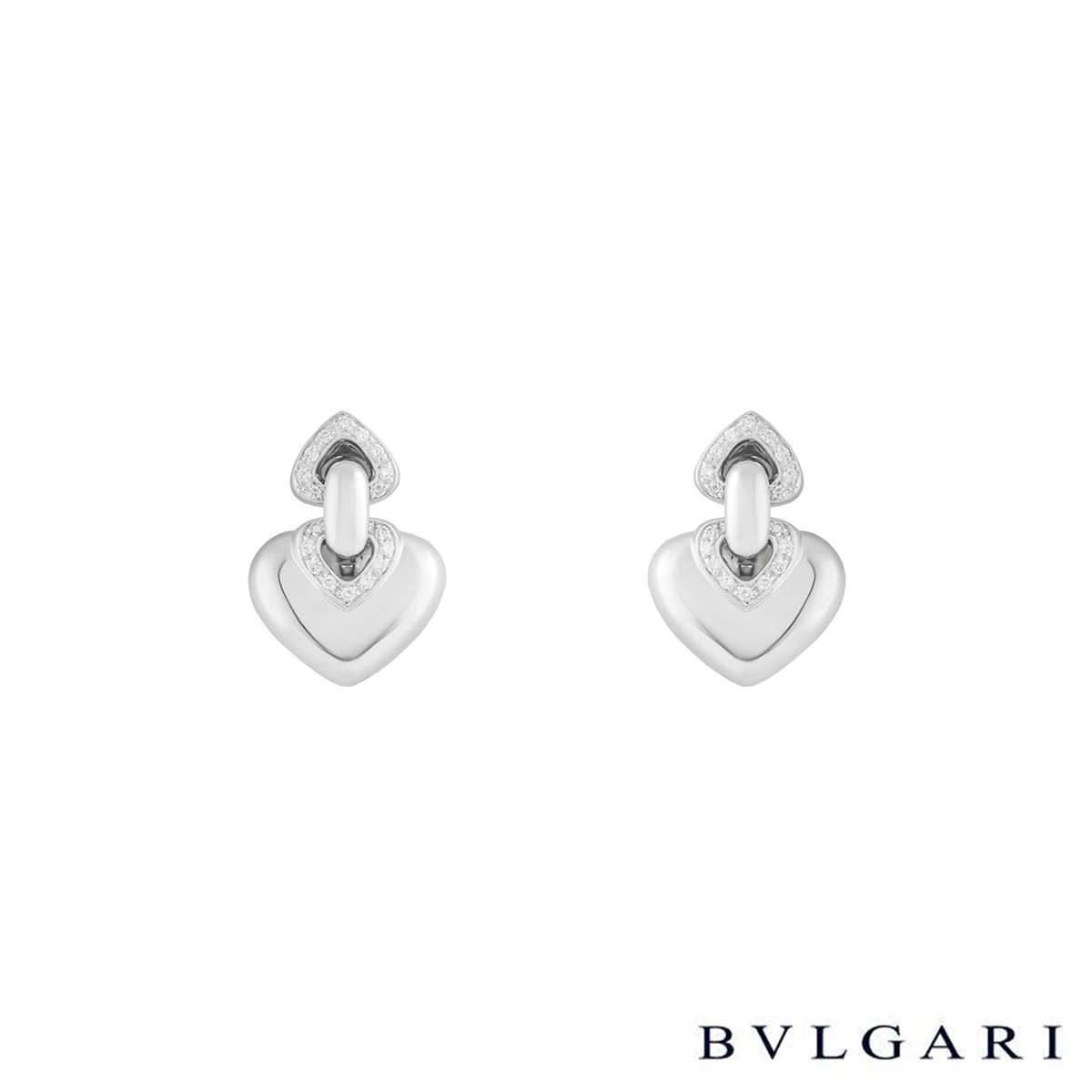 Bvlgari 18k White Gold Doppio Cuore Diamond Earrings 0.29ct